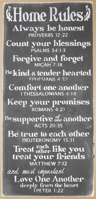 Home Rules -Bible Verse Inspired Stencil, honest, blessings, forgive and forget, kind, comfort, keep promises, supportive, true, friends, family, love heart