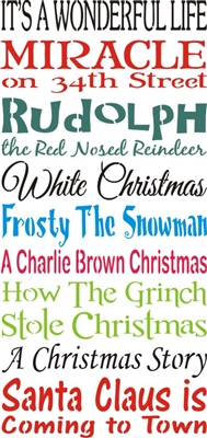 "It's A Wonderful Life, Miracle on 34th Street, Rudolph, White Christmas, Frosty, Charlie Brown, Grinch...11.5 x 24"" Stencil"