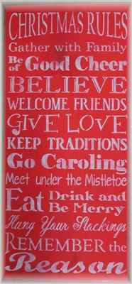 "Christmas Rules 11.5  x 24"" Typograpy Style Stencil"