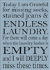"Today I am Grateful for...LAUNDRY...11.5 x 16"" Stencil"