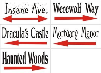 "Halloween ""Road Signs"" Set of 5 11.5 x 5.5"" Stencils"