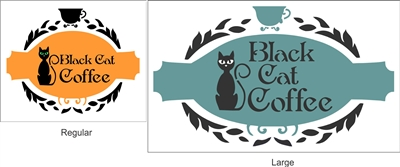 Black Cat Coffee with cat graphic Stencil Set -Two Size Choices