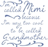 "I'm called Mimi (Nana) because I'm way too cool to be called Grandmother. 11.5 x 11.5"" Stencil"