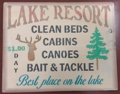 "Lake Resort Clean Beds Cabins Canoes... 14 x 11.5"" Stencil"