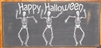 "Happy Halloween with dancing skeleton graphic 18 x 11.5"" Stencil"