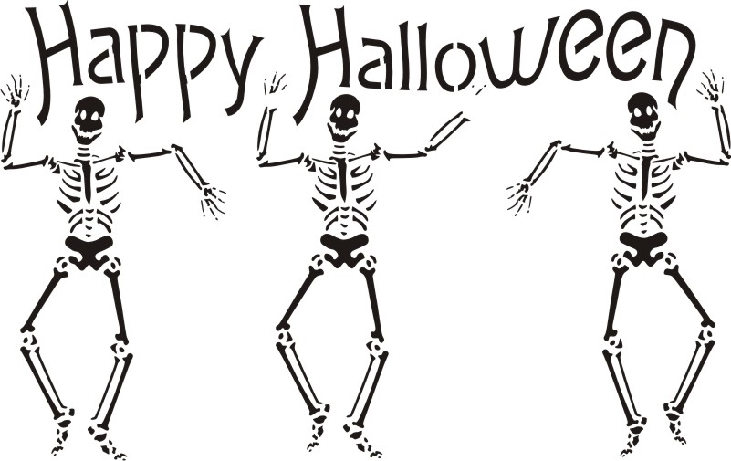 happy halloween with dancing skeleton graphic 18 x 115 stencil