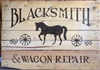 "Blacksmith & Wagon Repair with Wheel and Horse Graphics 24 x 11.5"" Stencil"