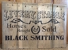 "Livery Stable Horses Bought & Sold Black Smithing with Horseshoe Graphic 24 x 11.5"" Stencil"
