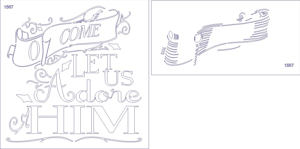 O Come Let Us Adore Him Stencil Two Size Choices