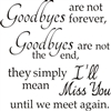 "Goodbyes are not forever, goodbyes are not the end... 11.5 x 11.5"" Stencil"