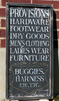 "PROVISIONS Hardware, Footwear, Dry Goods, Men's Clothing, Ladies Wear, Furniture... 11.5 x 24"" Stencil"