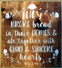 "They Broke bread in their Homes & ate together with Glad & Sincere Hearts 11.5 x 12"" Stencil"