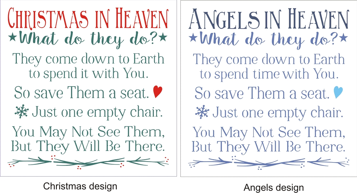 christmas or angels or holidays in heaven what do they do 115 x 115 stencil