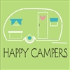 "Happy Campers with retro camper graphic 11.5 x 11.5"" Stencil"