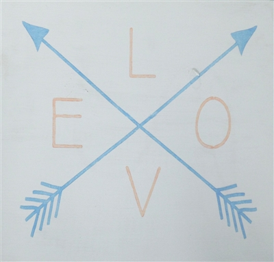 LOVE with crossed arrows Stencil- Two Size Choices
