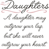 "Daughters. A daughter may outgrow your lap... 11.5 x 11.5"" Stencil"