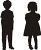 Boy and Girl Silhouettes -Three size choices Stencil