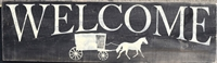 Welcome with Amish Wagon stencil -two size choices