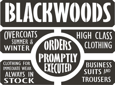"Blackwoods -High Class Clothing 16 x 12"" stencil set"