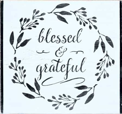 "blessed & grateful 11.5 x 11.5"" stencil stencils diy"