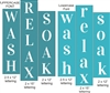 Wash Relax Soak Stencil set choice of Upper or Lower Lettering