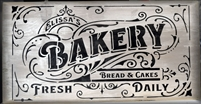 "Bakery Bread & Cakes Fresh Daily 22 x 12"" PERSONALIZED Stencil"