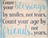 Count your blessings by smiles, not tears. Count your age by friends, not years. 11.5 x 10 stencil