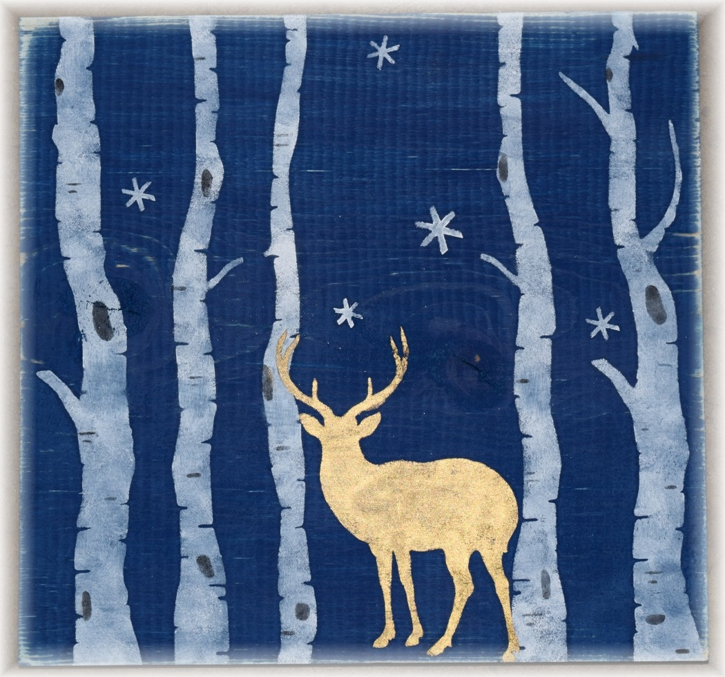 Winter Scene With Deer And Trees 12 X 12 Quot 2 Part Stencil Set