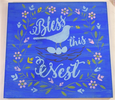 "Bless this Nest with nest and bird graphic 12 x 12"" stencil"