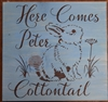 "Here Comes Peter Cottontail 11.5 x 11.5"" stencil with bunny graphic"