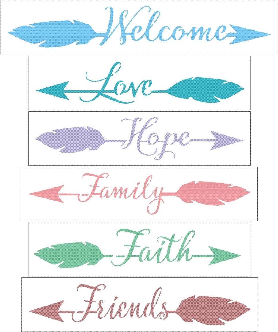 Welcome love hope family faith friends arrow words set of 6 welcome love hope family faith friends arrow words set of 6 stencils two size choices publicscrutiny Choice Image
