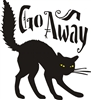 "Go Away with black cat 11.5 x 11.5"" stencil"