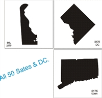 "ALL 50 States Graphic Outline, each on 5 x 5"" stencil sheet"