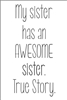 "My sister has an AWESOME sister. True Story. 6 x 12"" Stencil"