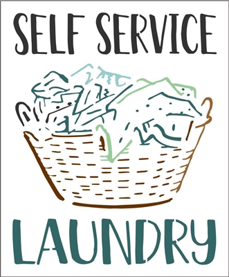 "SELF SERVICE LAUNDRY with Laundry Basket Graphic 9.5 x 11.5"" Stencil"