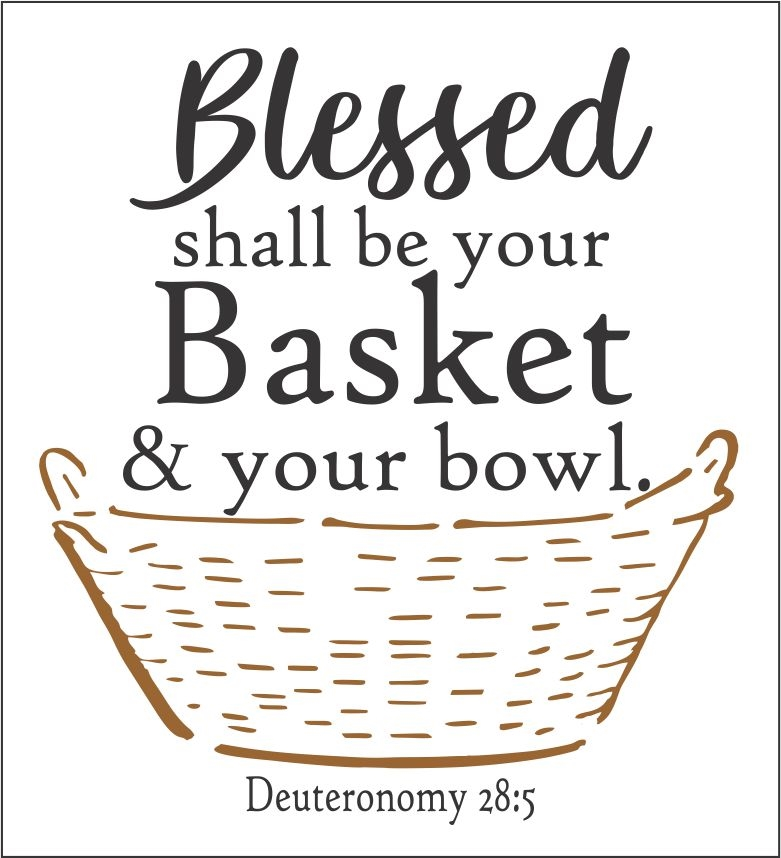 Basket graphic-Three Size Choices Stencil