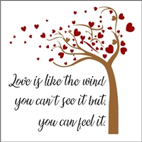 "Love is like the wind you can't see it but, you can feel it. W/ Heart Tree Graphic 12 x 9.5"" Stencil"