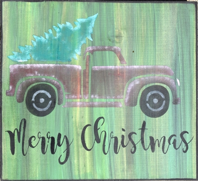 Merry Christmas with Vintage retro Truck & Christmas Tree Stencil Stencils Graphic Graphics