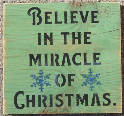"Believe in the miracle of Christmas 6 x 6"" Stencil"