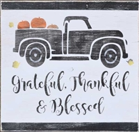 "Grateful, thankful & blessed with Vintage Truck Graphic 12 x 9.5"" Stencil stencils graphics diy"