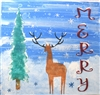 "MERRY Whimsical Deer, Snowflakes and Tree Scene 11.5 x 11.5"" Stencil"