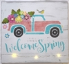 Welcome Spring with Retro Truck and Flowers Stencil Stencils Graphic graphics diy