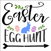 Easter Egg Hunt with bunny graphic Stencil 12 x 12""