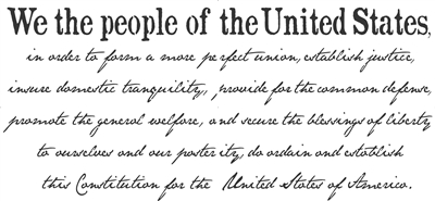 "We The People... Constitution Preamble 46.5 x 22"" wording"
