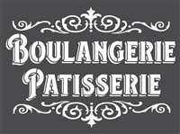 "Boulangerie Patisserie with Scroll Accents 16 x 12"" Stencil"