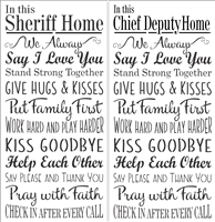 "In this Sheriff Home or Chief Deputy Home ""Rules"" 11.5 x 24"" Stencil"