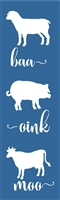 "baa oink moo with Sheep, Pig and Cow Graphics 6 x 20"" Stencil Stencils"