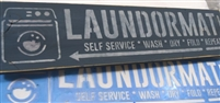 LAUNDROMAT SELF SERVICE w/ Washer Graphic Stencil -Two Size Choices