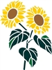 Sunflowers Graphic Three Size Choices Stencil
