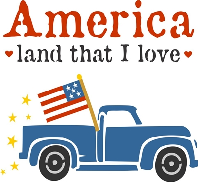 "America land that I love w/ Retro Truck and Flag Graphic 11.5 x 11.5"" Stencil Set"